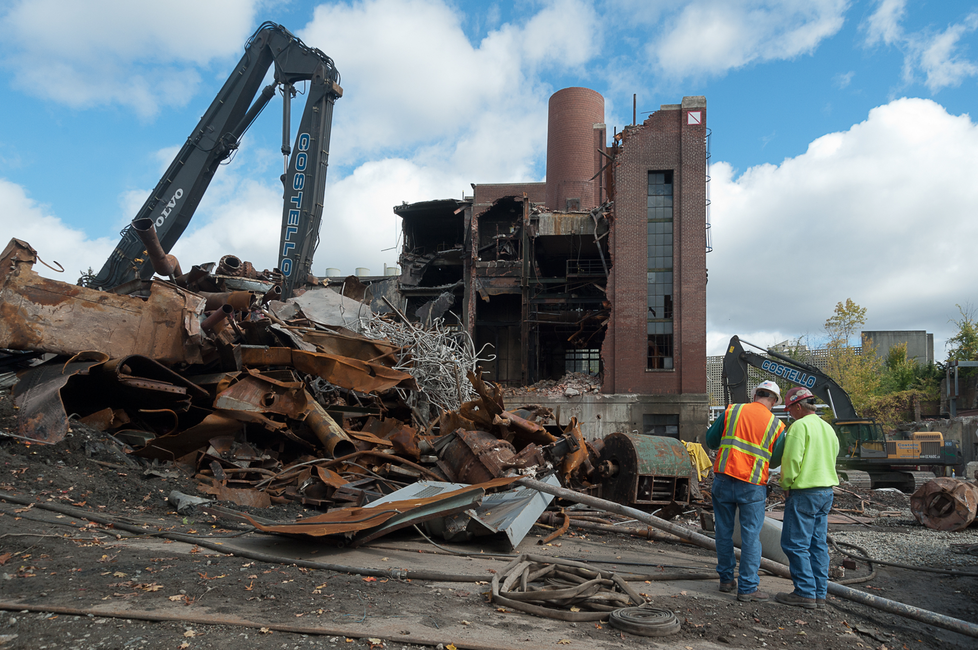 demolition Progress photography by John Giammatteo of the UMass plant demolition by Whiting Turner Construction